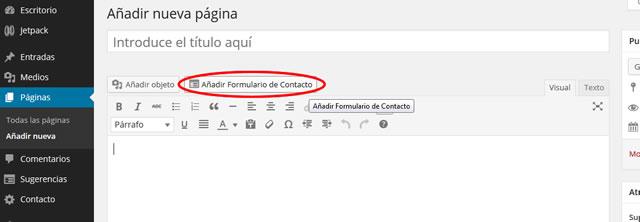 Botón Añadir Formulario de Contacto