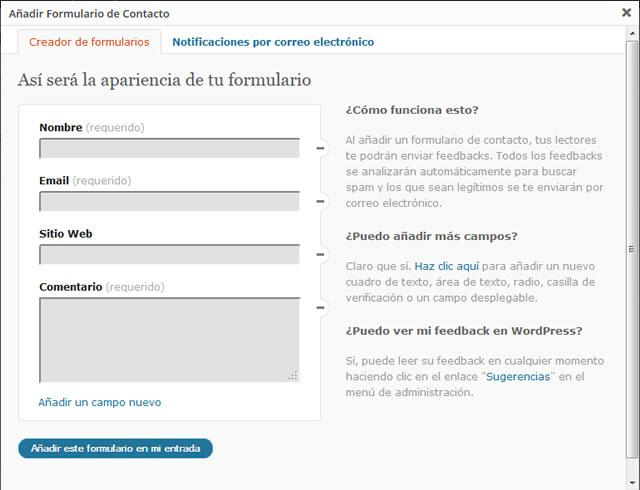 Ventana de crear formulario