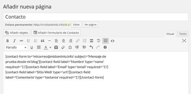 Texto de página de contacto
